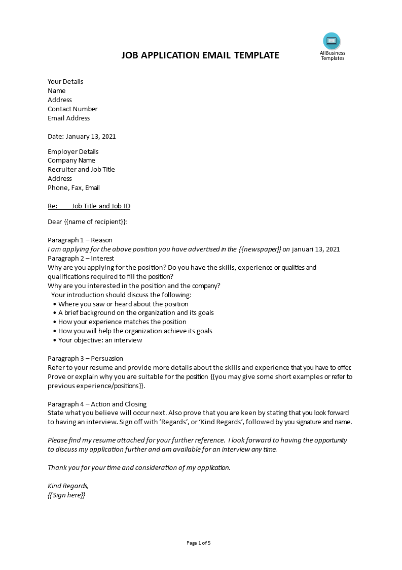 Application Cover Letter Newspaper Job