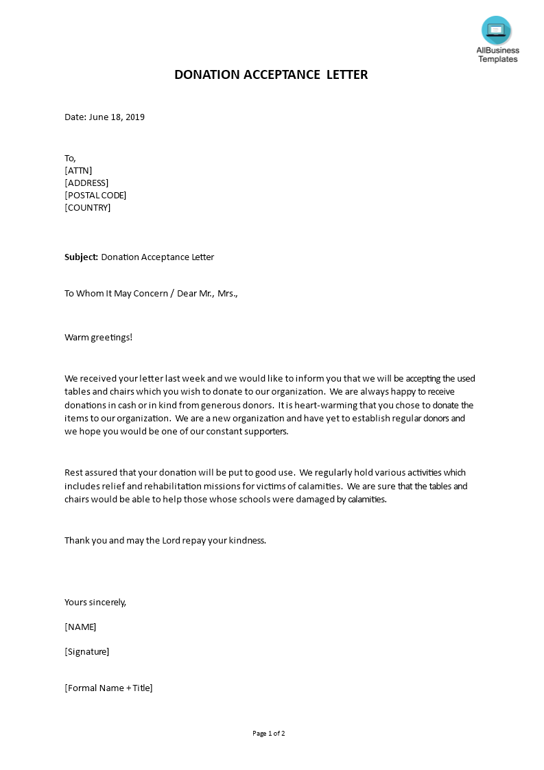 donation acceptance letter main image download template