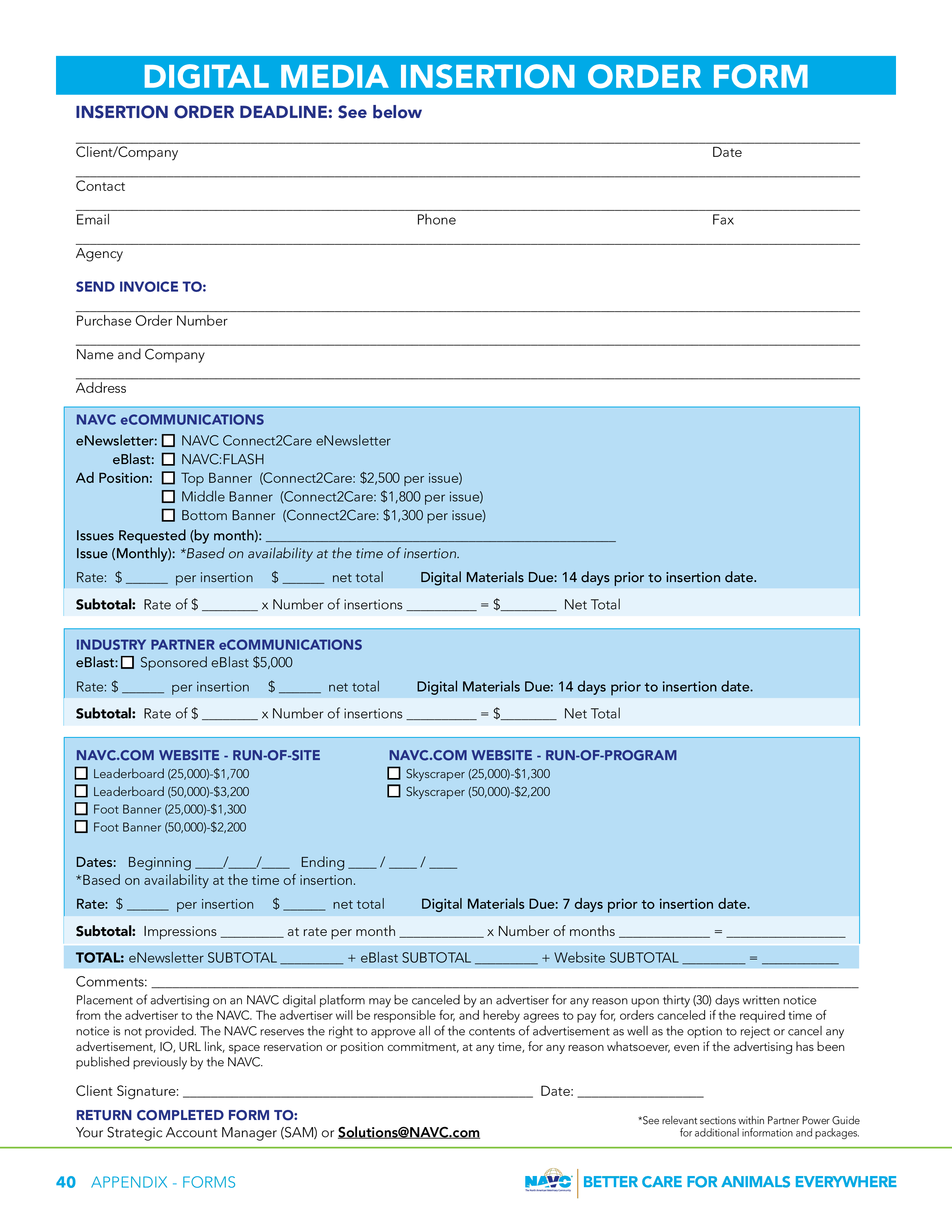 Insertion Order Template   Free Digital Media Insertion Order Templates At