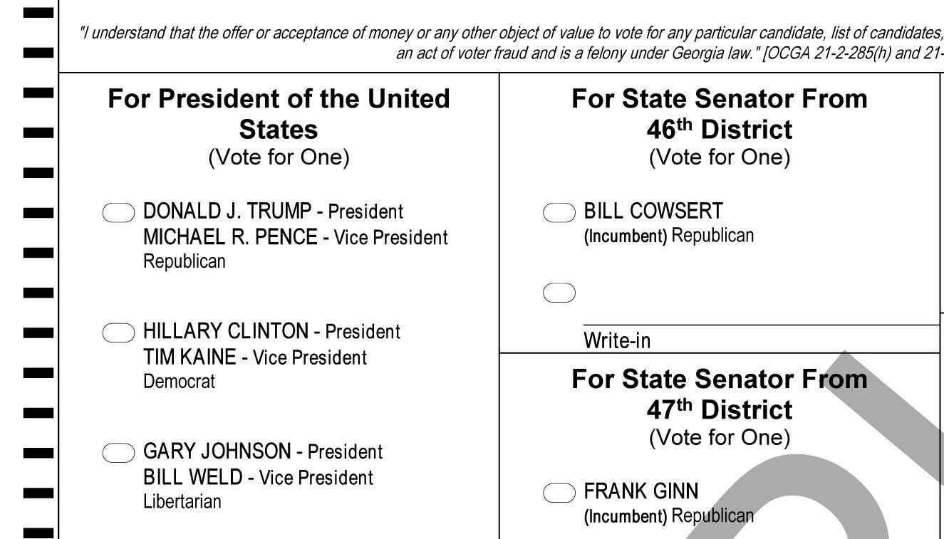 Free USA Presidential Election Ballot Trump Clinton Johnson ...