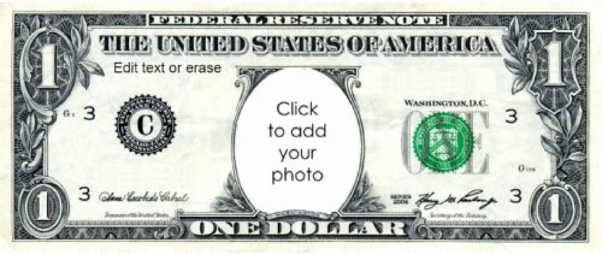 Free play money 1 dollar templates at for Custom fake money template