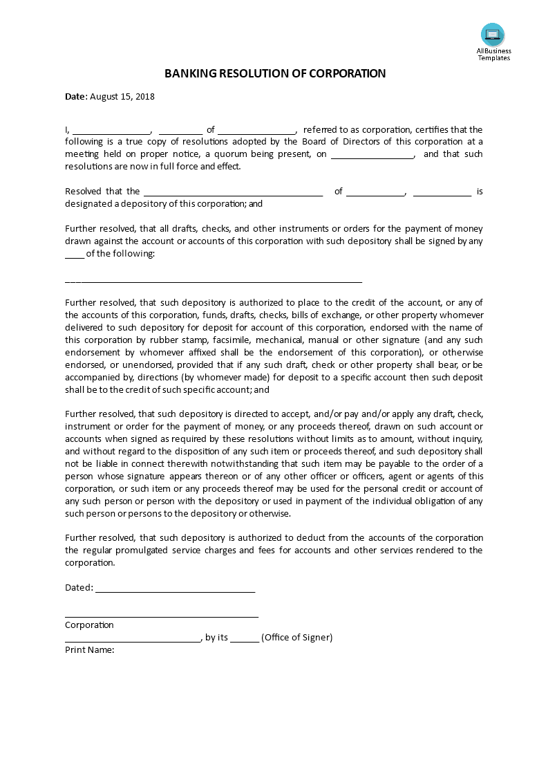 bank resolution form Banking resolution form template - banking resolution form template ...