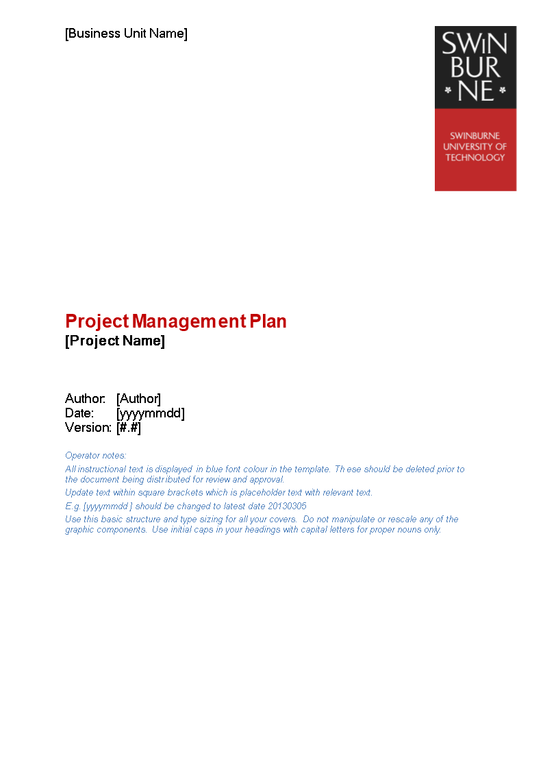 Project Management Plan Word main image
