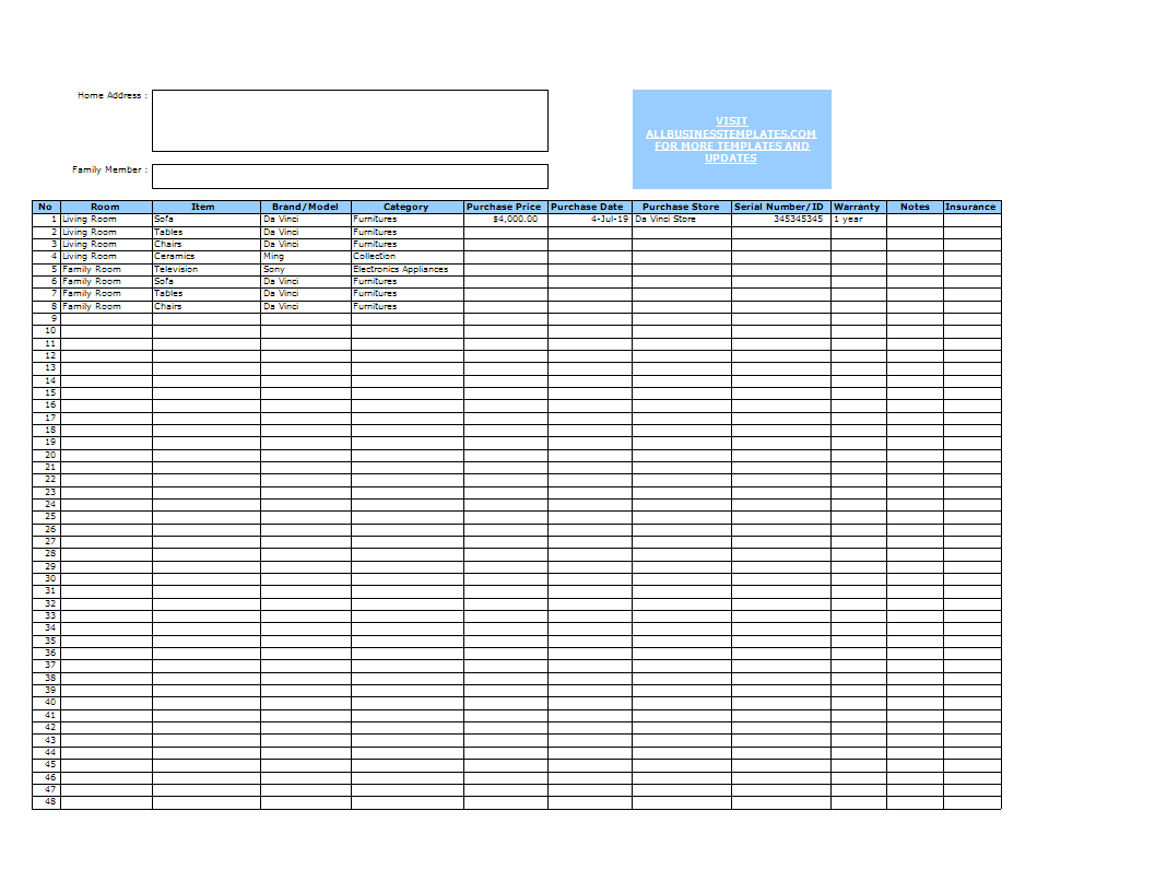 Home Inventory Excel Template Templates At