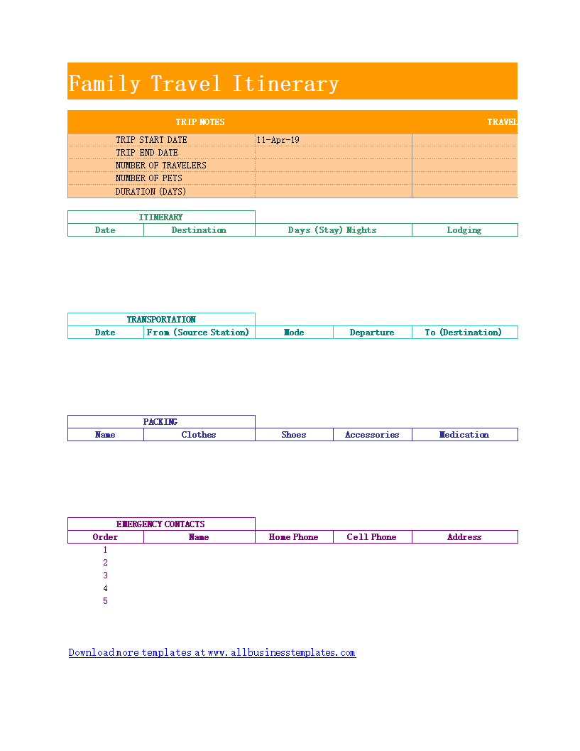 Family Travel Itinerary Templates At Allbusinesstemplates Com