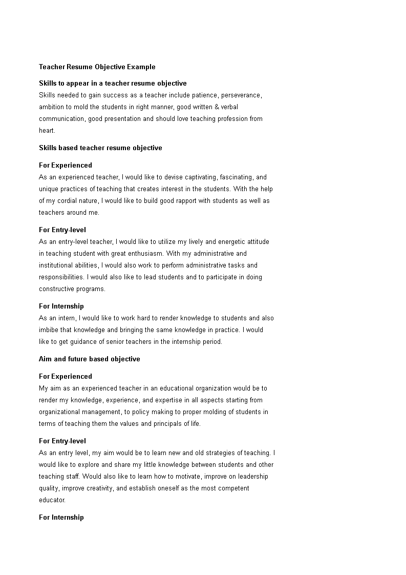 Free Best Teacher Resume Objective | Templates at ...