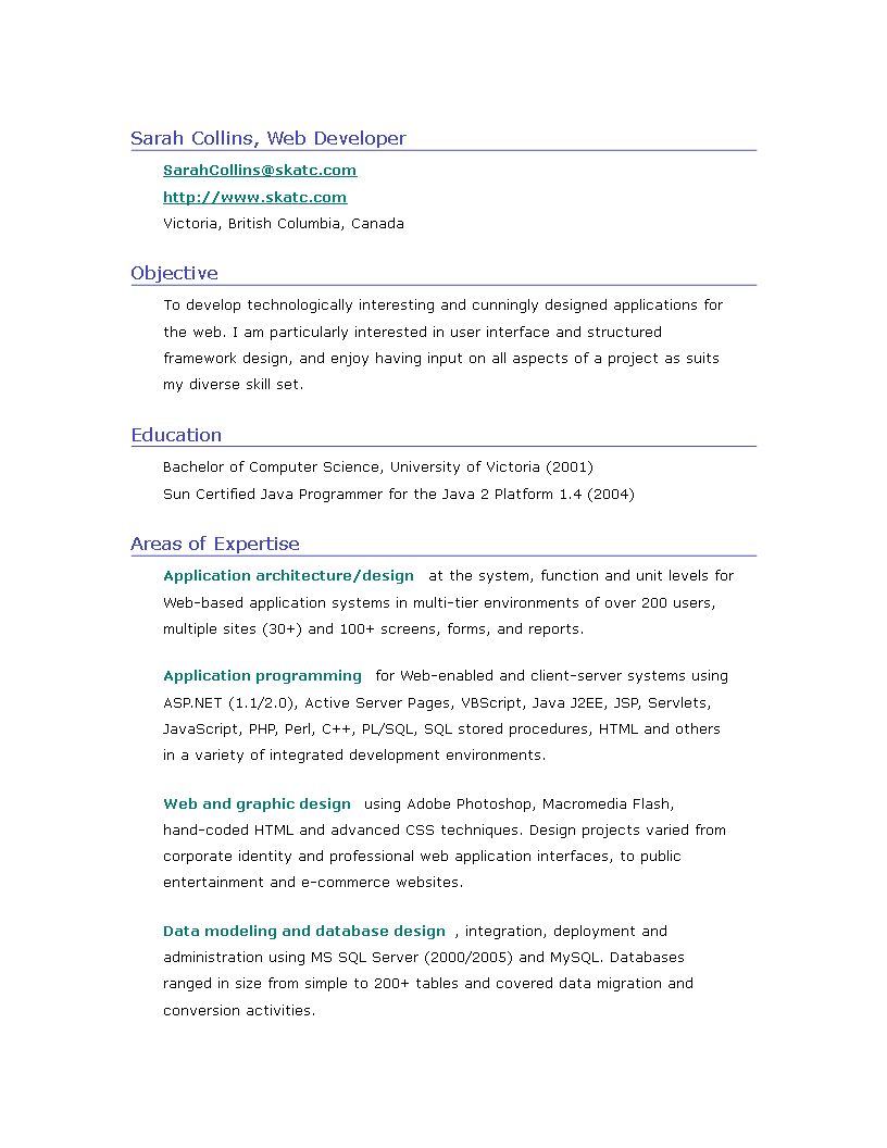 Web Designer Resume Sample