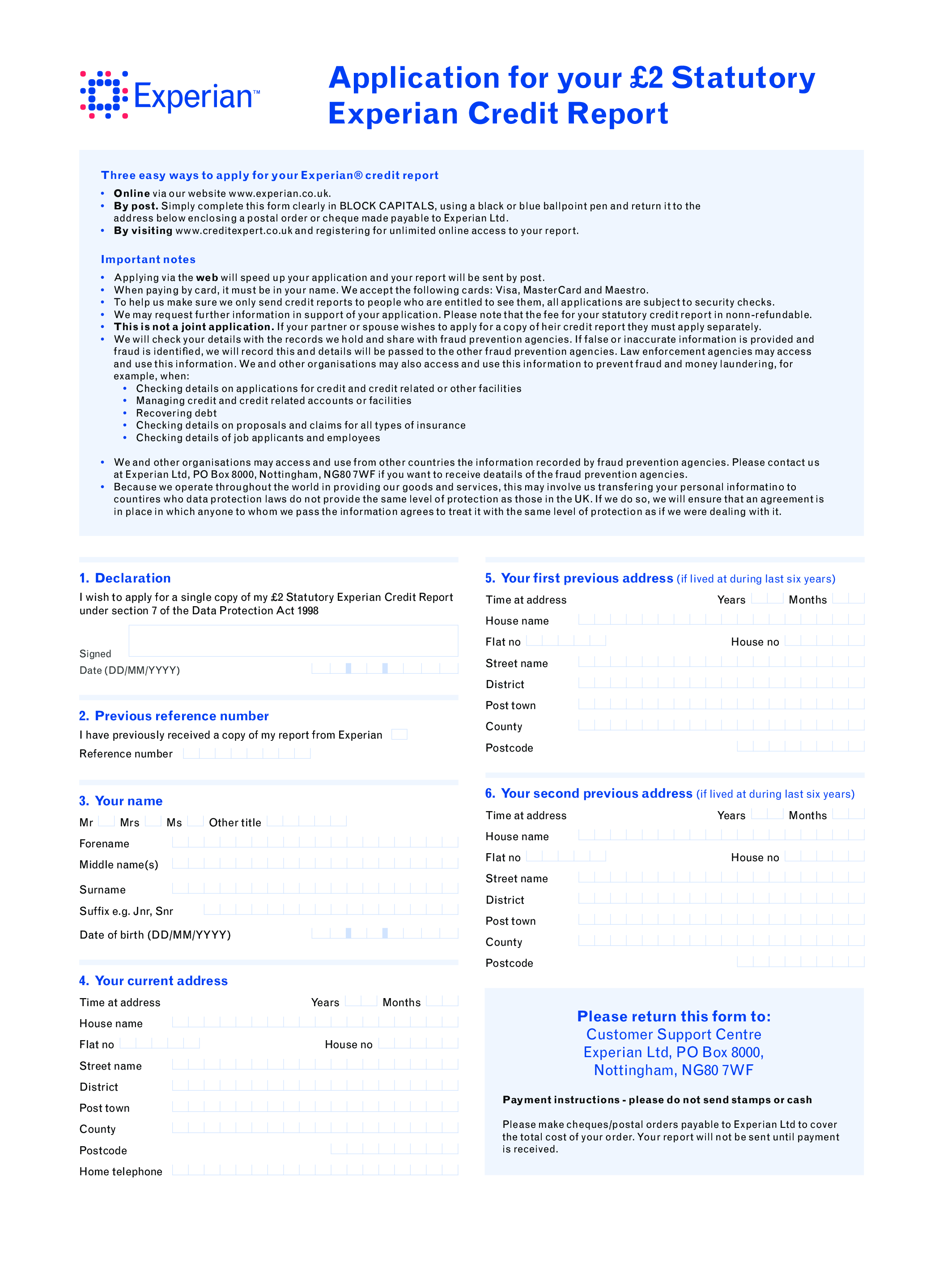 Credit Report Application Form Main Image Download Template