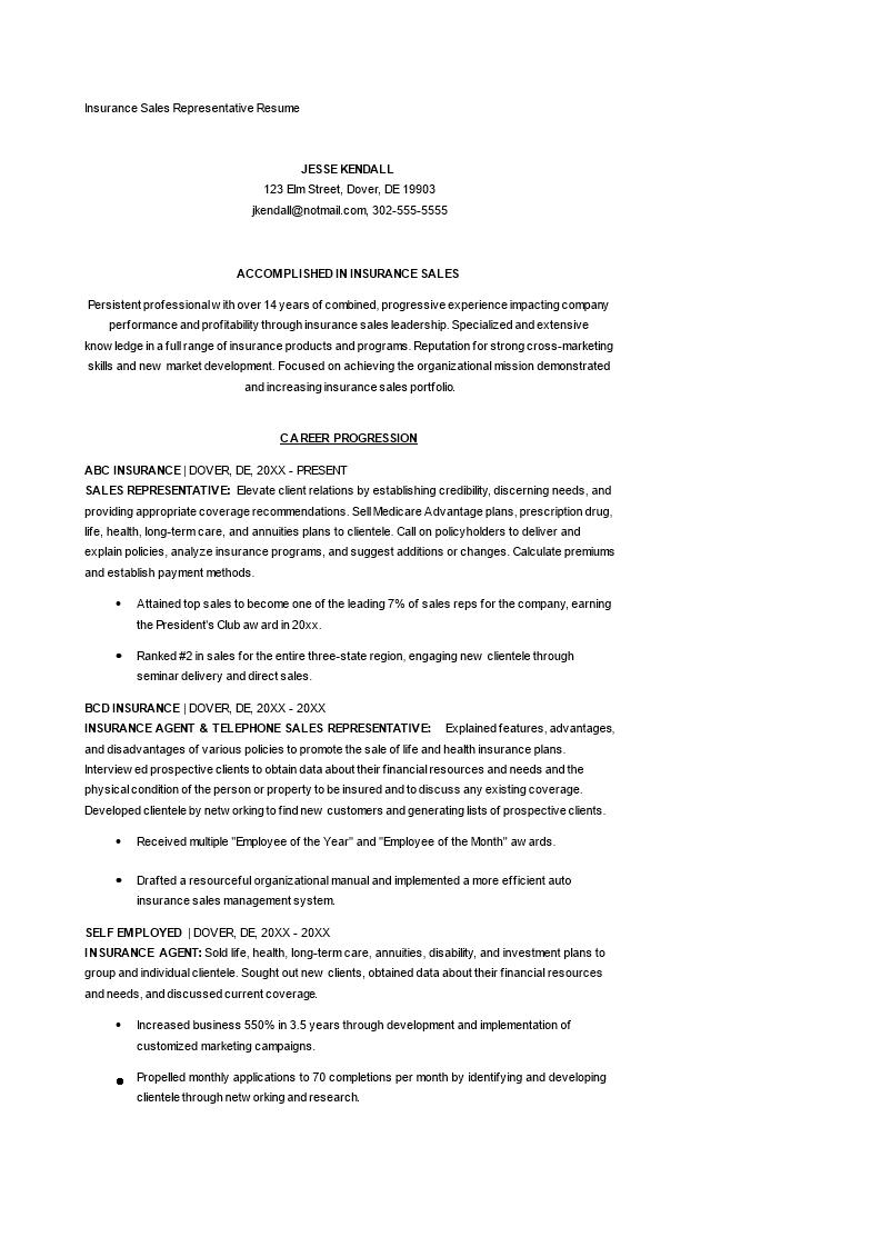Libreng Insurance Sales Representative Resume