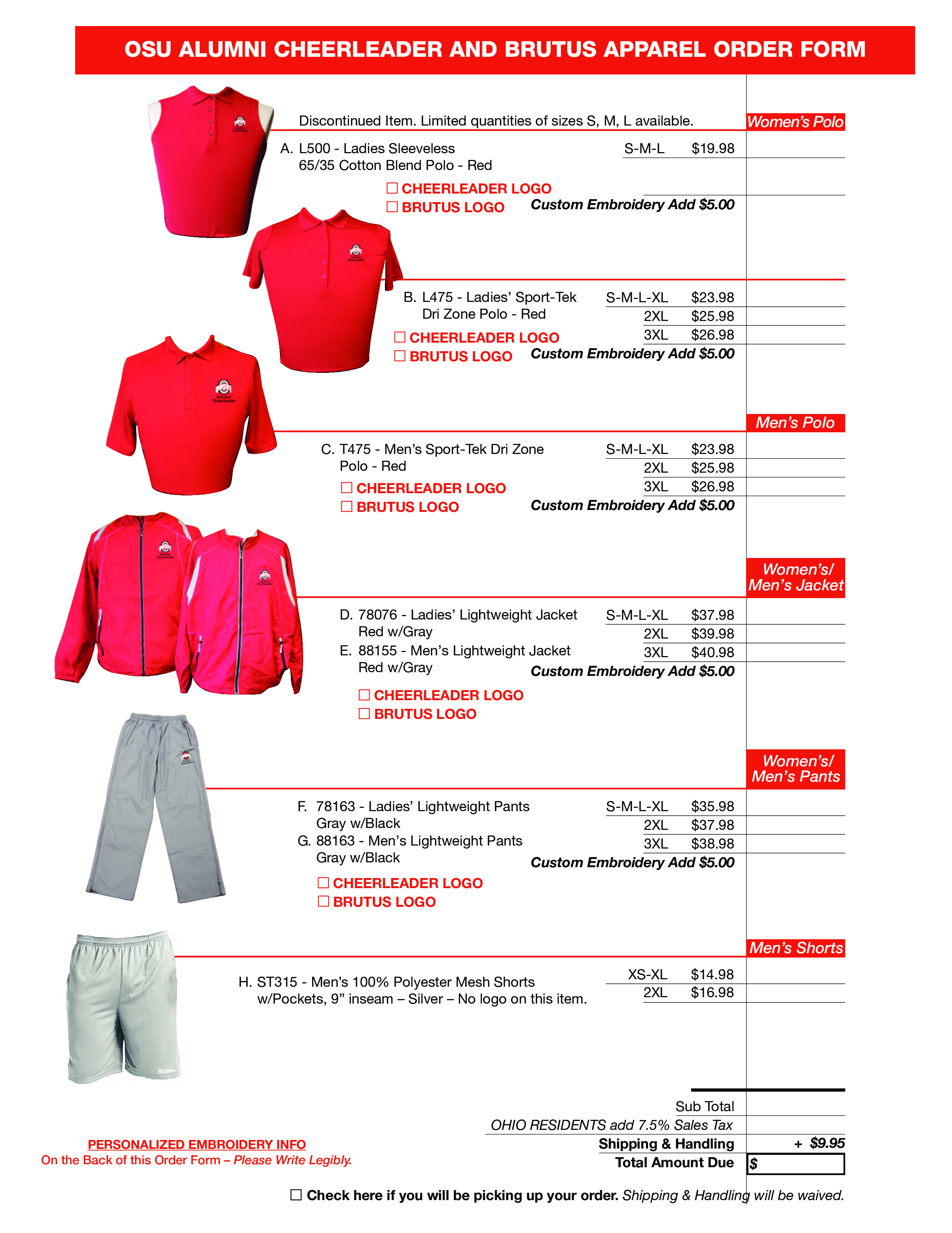 cheerleader apparel order form main image download template