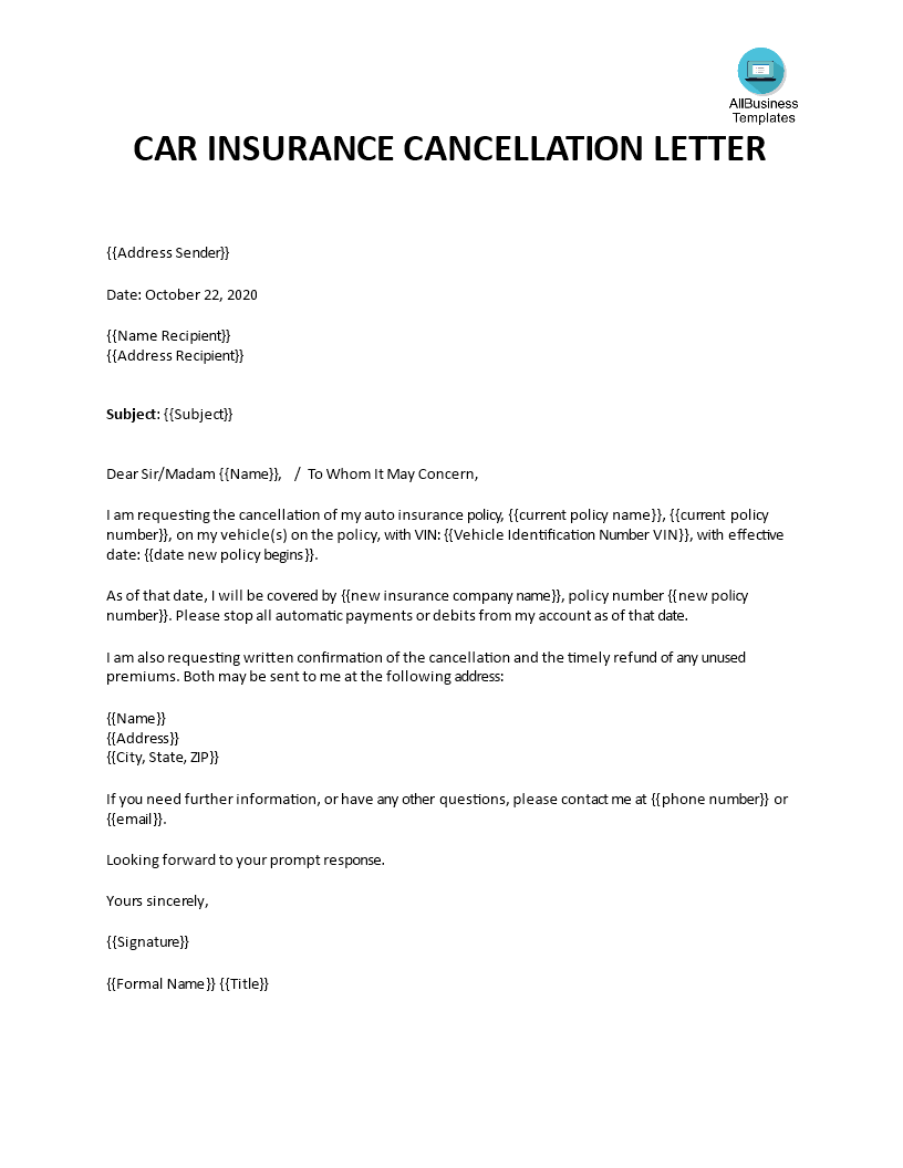Car Insurance Cancellation Letter main image