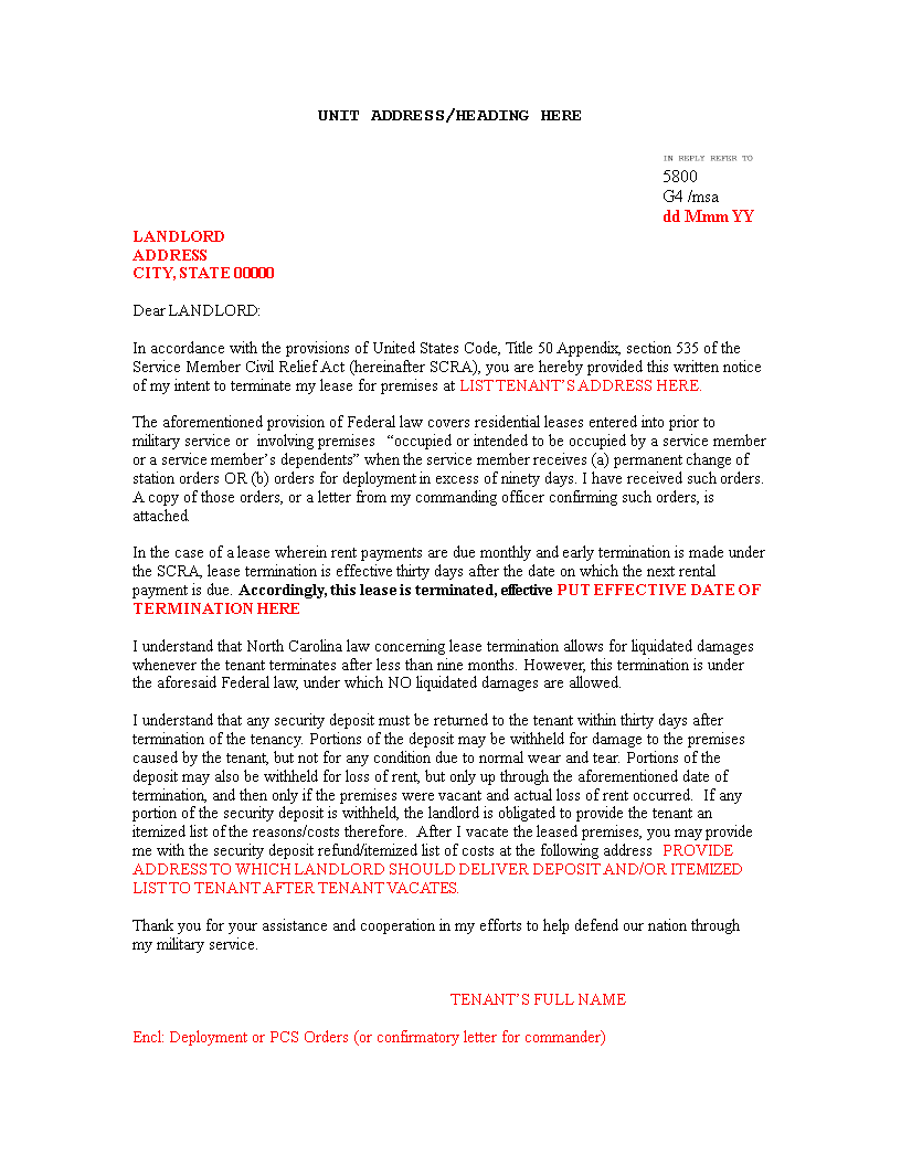 Free Lease Termination Letter Word Templates At