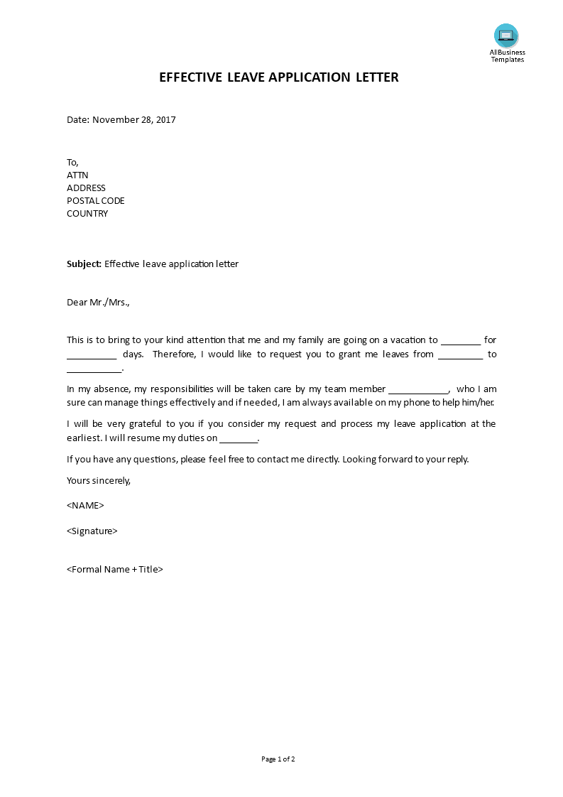 Effective Leave Application Letter Main Image Download Template  Leave Application Template