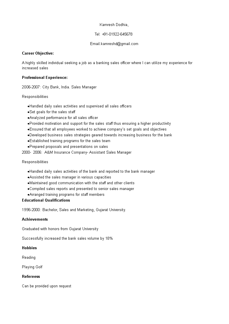 Free Bank Sales Officer Resume Templates At Allbusinesstemplates