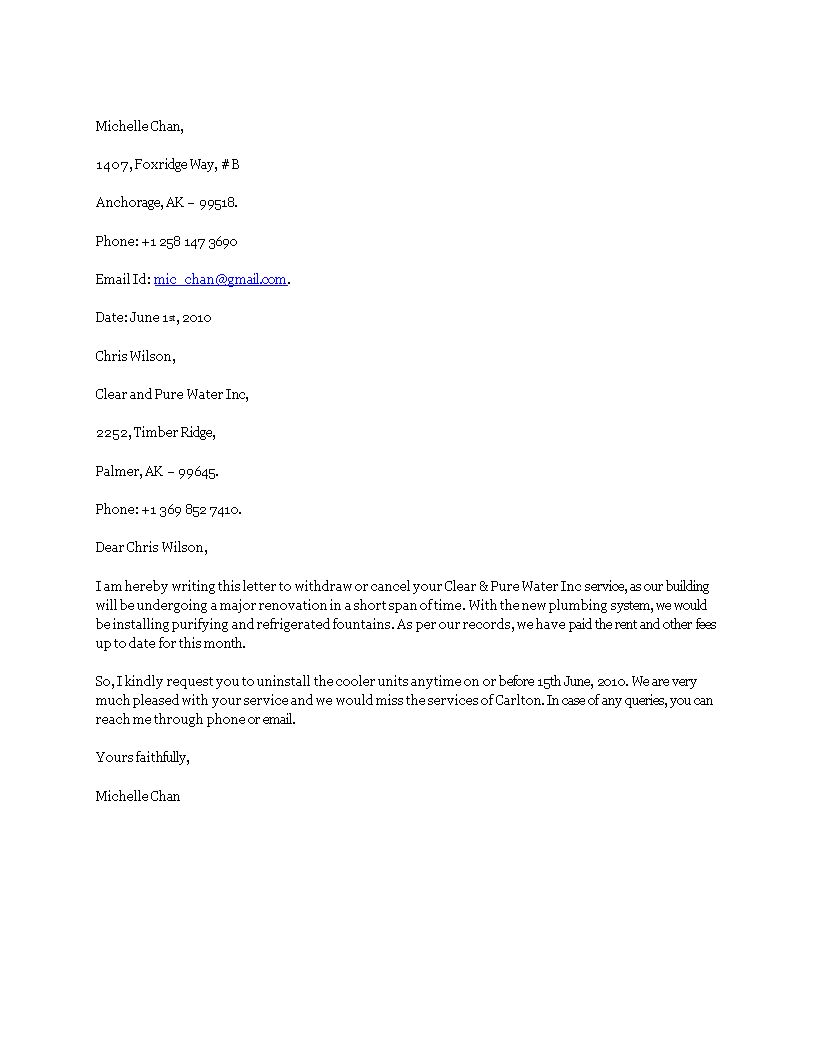 Letter To Cancel Service from www.allbusinesstemplates.com