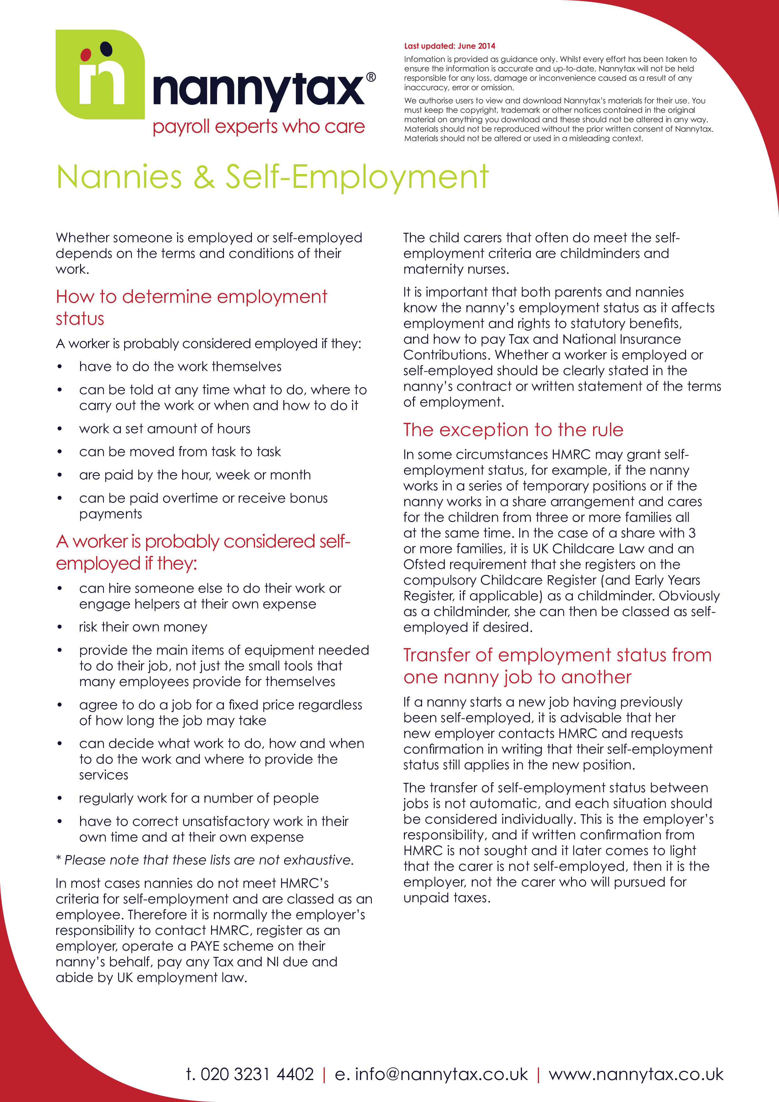 Self Employed Nanny Contract