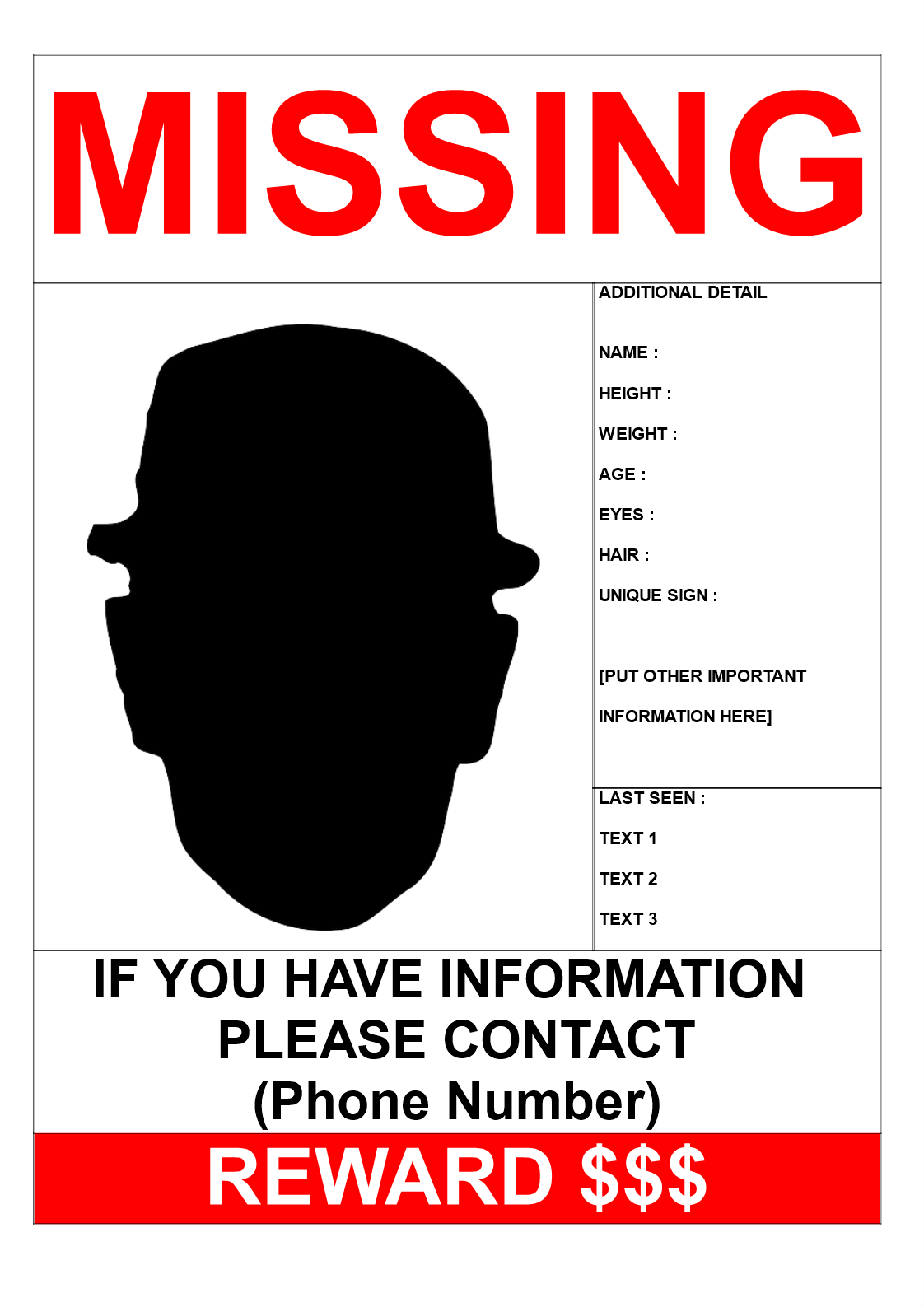 Missing Person Template With Reward A3 Size Main Image