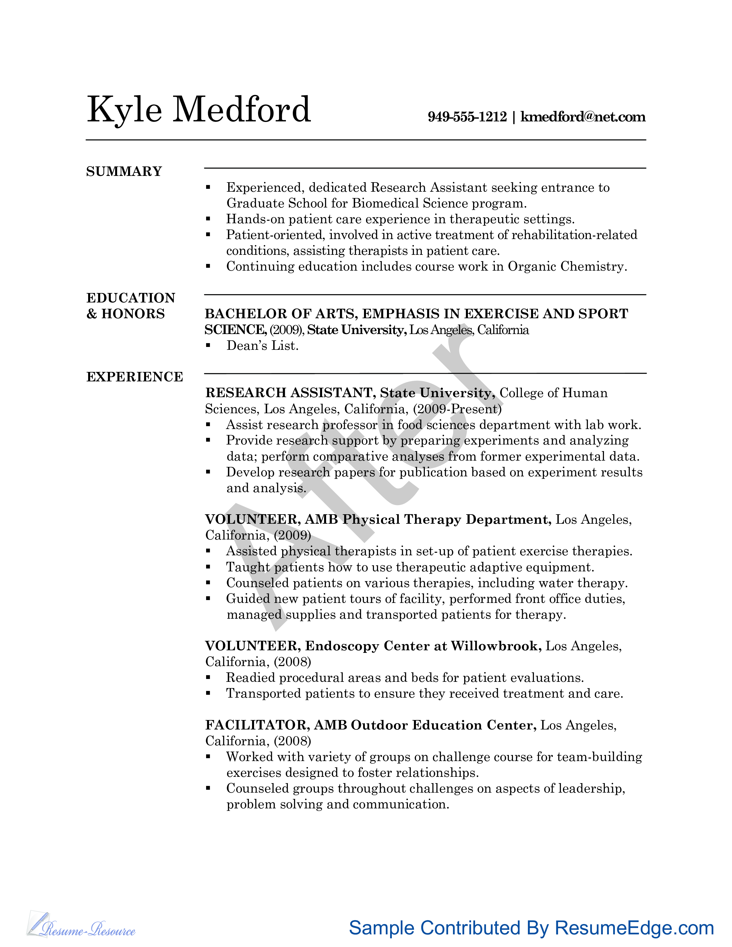research assistant cv sample main image