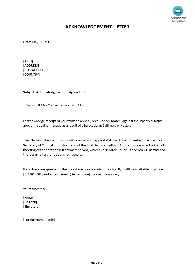 Letter Of Appeal Format from www.allbusinesstemplates.com