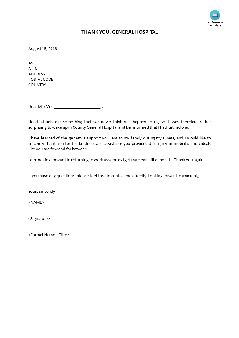 Thanks Letter To General Hospital Templates At