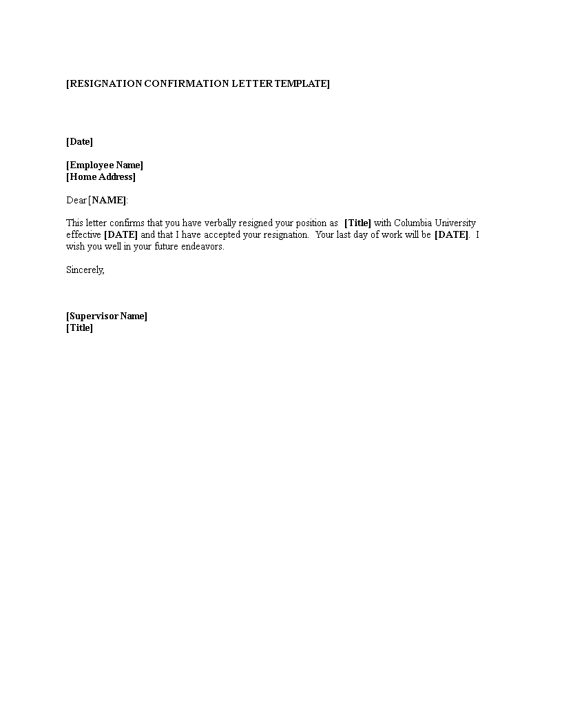 Free employee resignation confirmation letter templates for Cca letter template