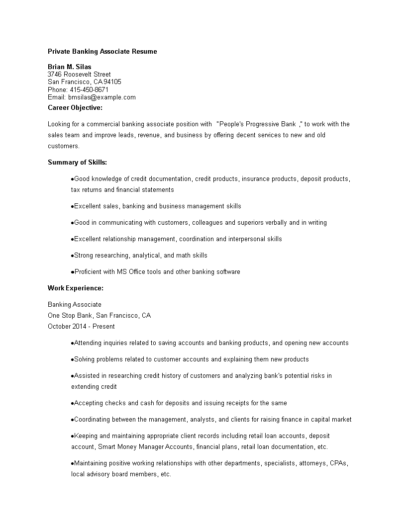 Private Banking Associate Resume Main Image