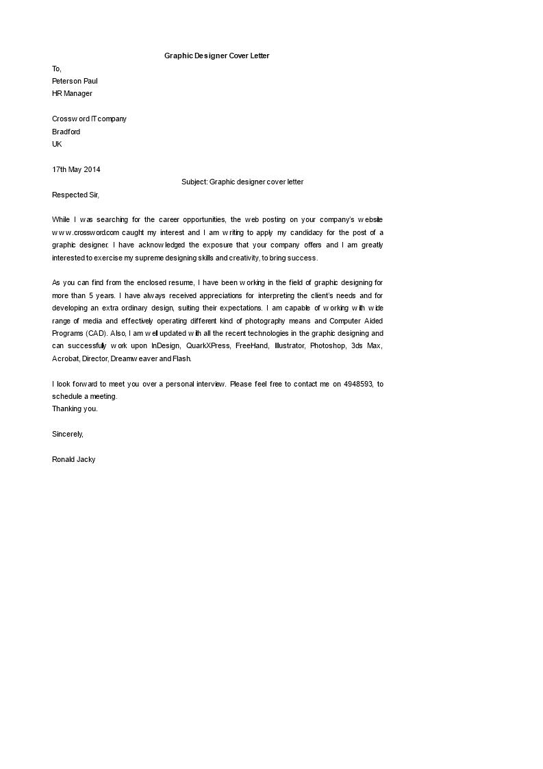 Gratis Graphic Designer Cover Letter