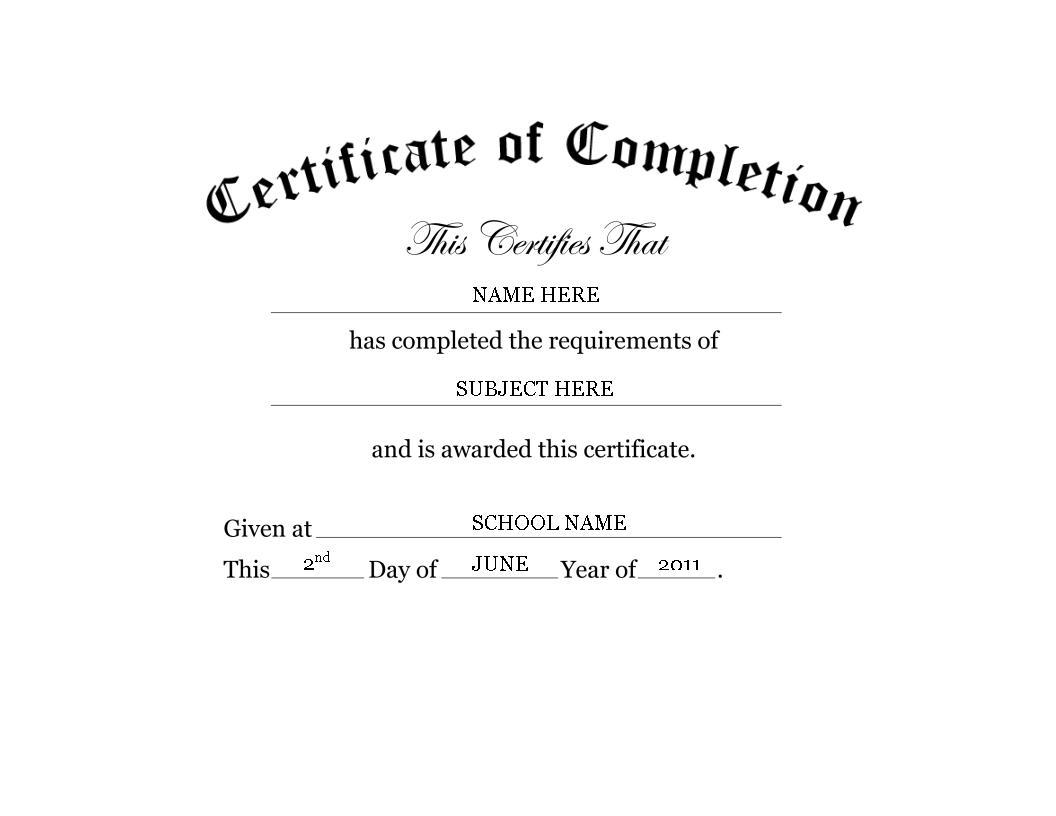 Kindergarten Preschool Certificate Of Completion Word  Templates In Free Certificate Of Completion Template Word