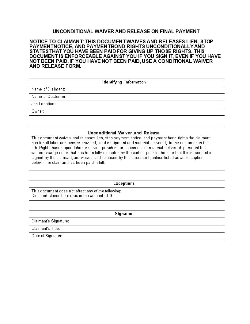Unconditional Lien Release Form   Premium Schablone