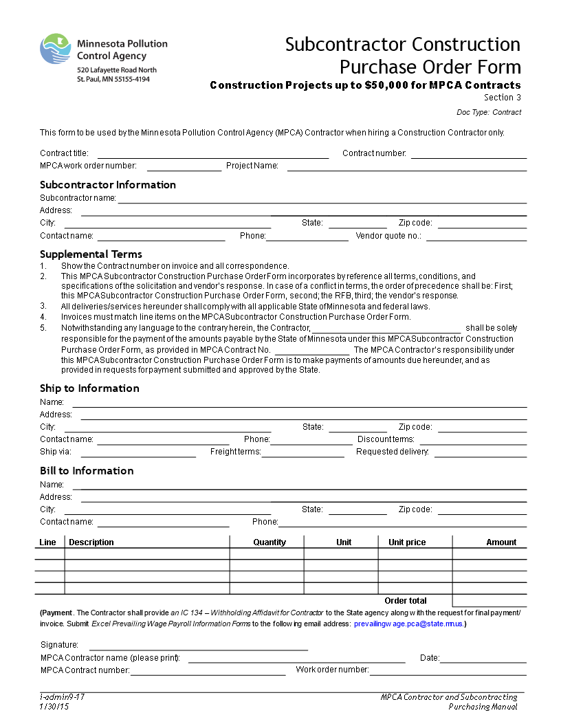Subcontractor Construction Purchase Order Form
