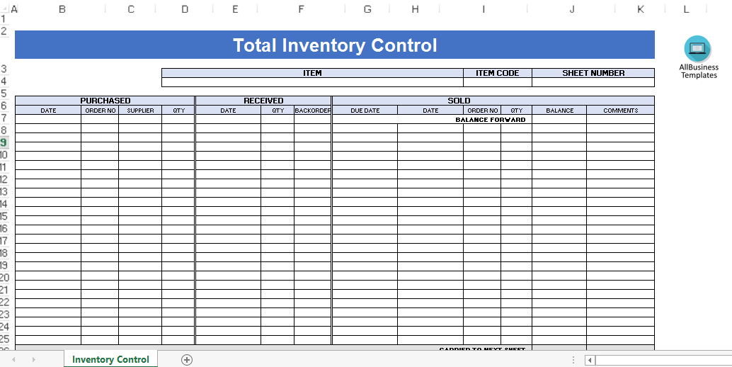 Total Inventory Control Template Templates At Allbusinesstemplates Com
