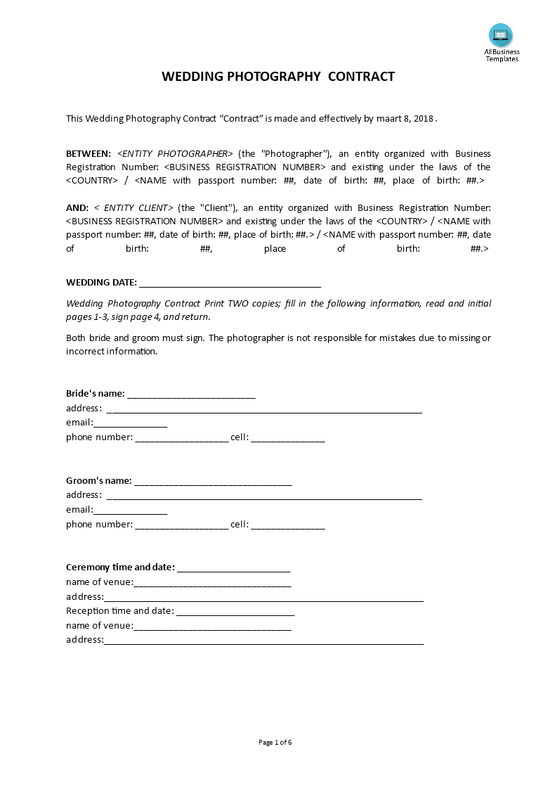 Generic Wedding Photography Contract | Templates at ...