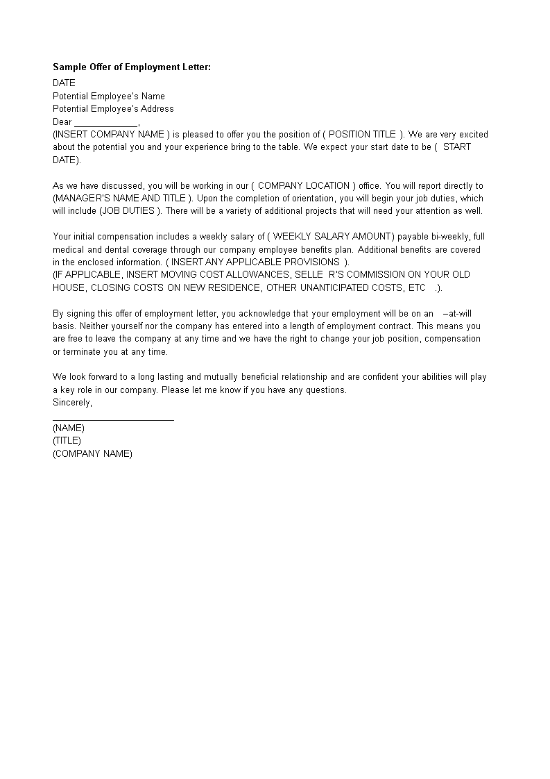 Free Company Employment Offer Letter Templates At - Offer of employment letter template free