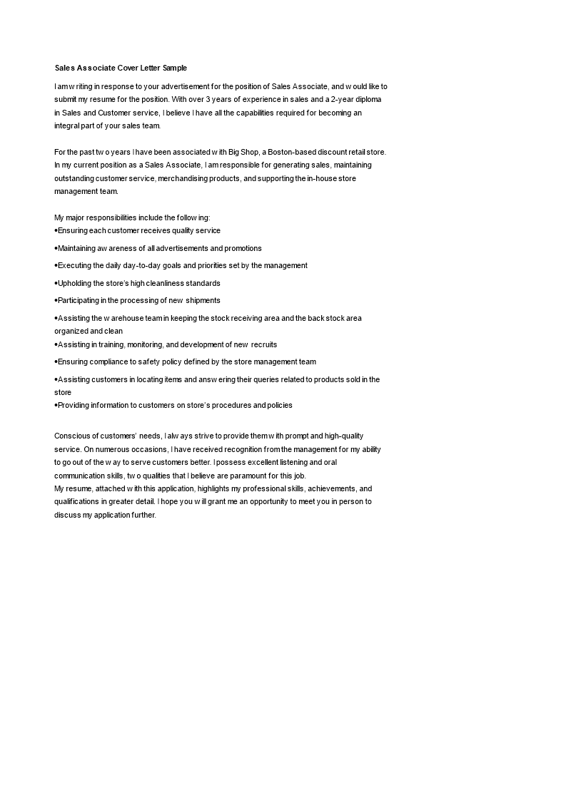 Sales Associate Cover Letter template | Templates at ...
