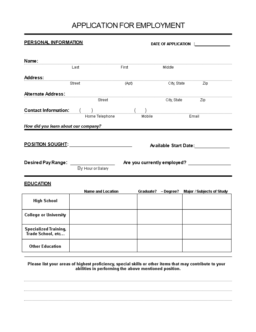Application Form Sample  Application For Employment Template Free