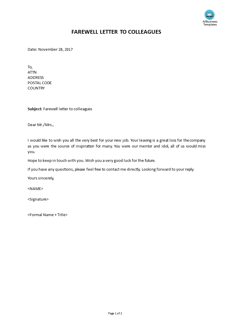 Leaving Letter To Colleagues from www.allbusinesstemplates.com