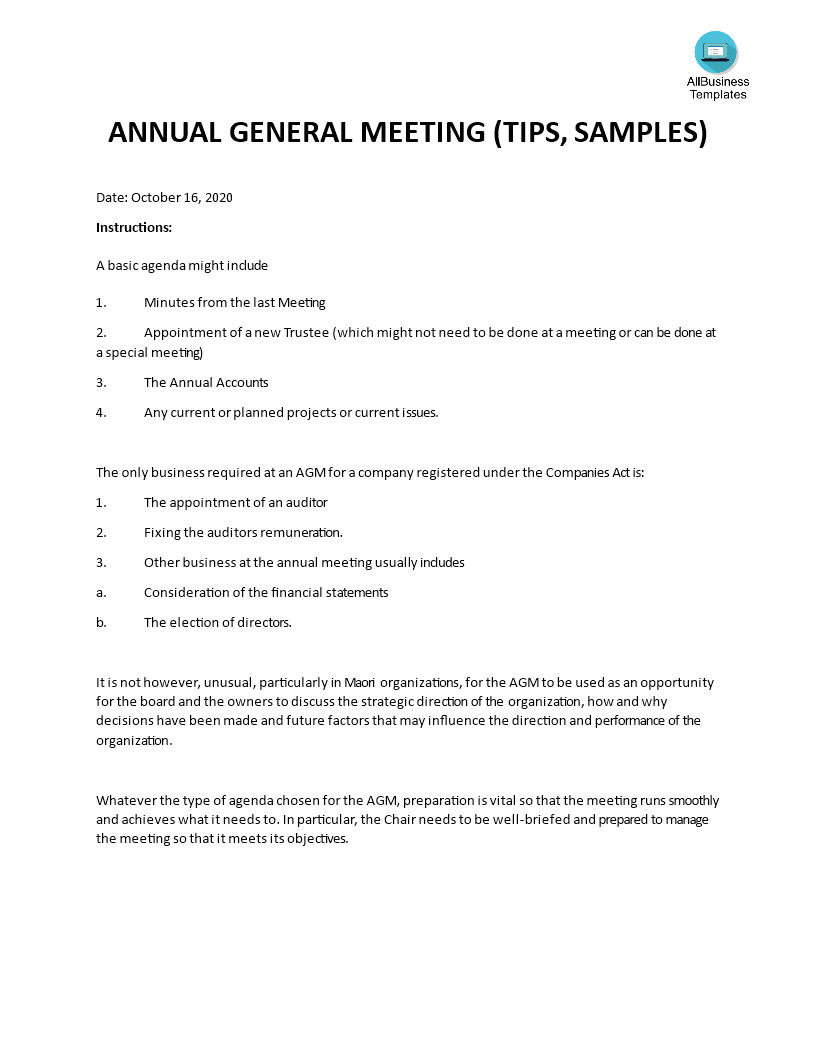 Non-Profit Annual General Meeting (AGM) Agenda template main image