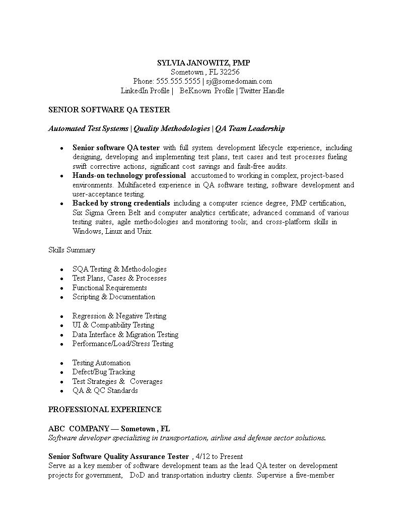 Free Software Testing Resume Format | Templates at ...