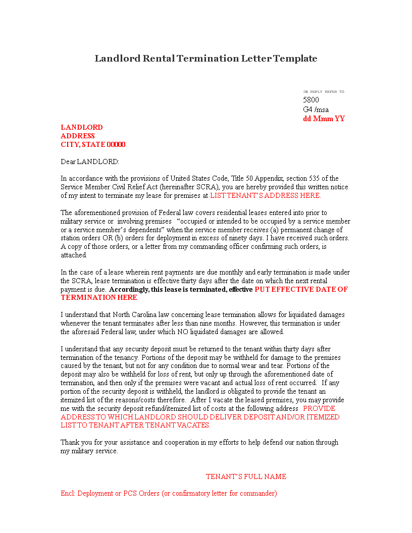 Gratis Landlord Rental Termination Letter - Month to month lease termination letter template