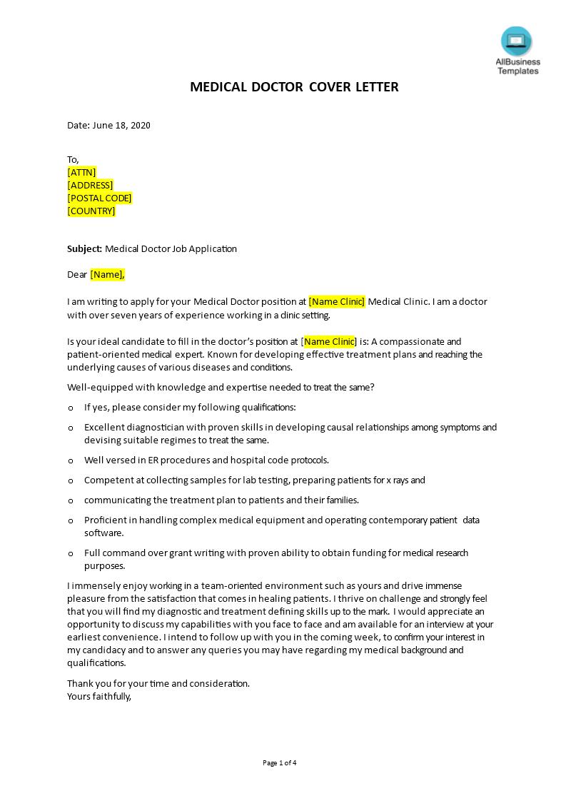 Job Application Letter For Doctor Templates At Allbusinesstemplates Com