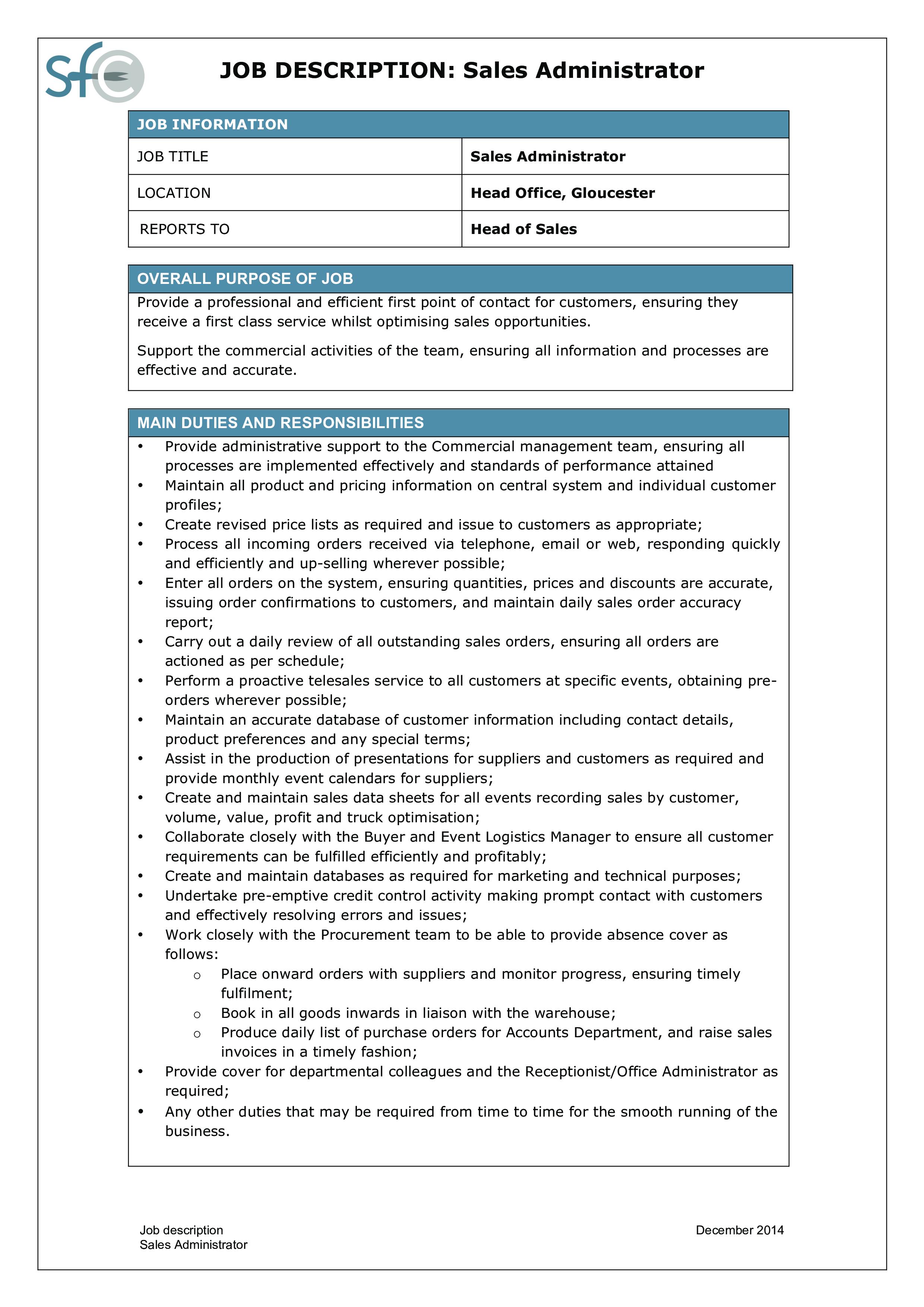 Administrator Job Description | Free Sales Administrator Job Description Templates At