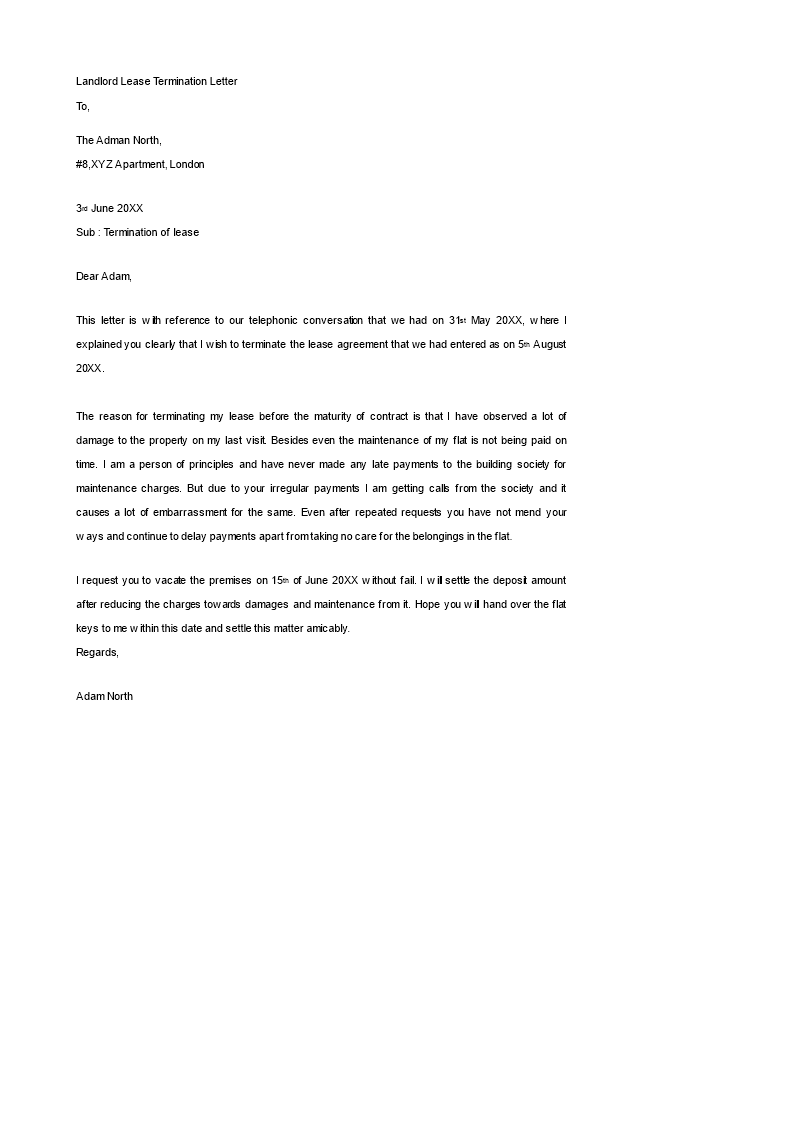 free landlord lease termination letter templates at