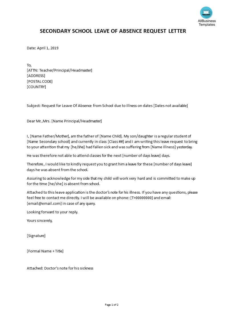 Sample Letter For Leave Secondary School | Templates at