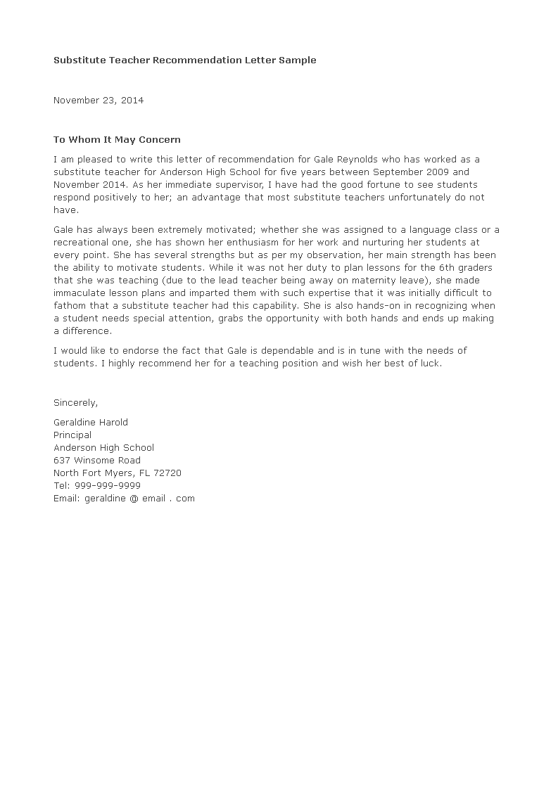 Letter Of Recommendation For Substitute Teacher Main Image Download Template