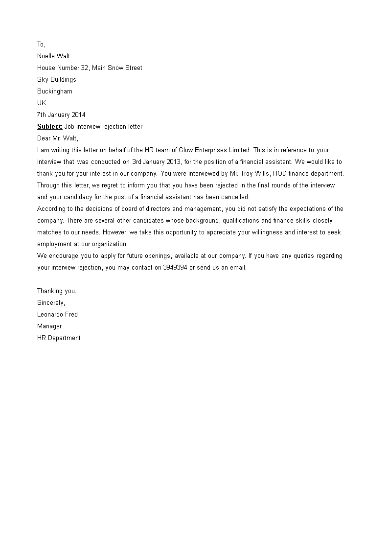 Free email job rejection letter templates at allbusinesstemplates email job rejection letter main image download template maxwellsz