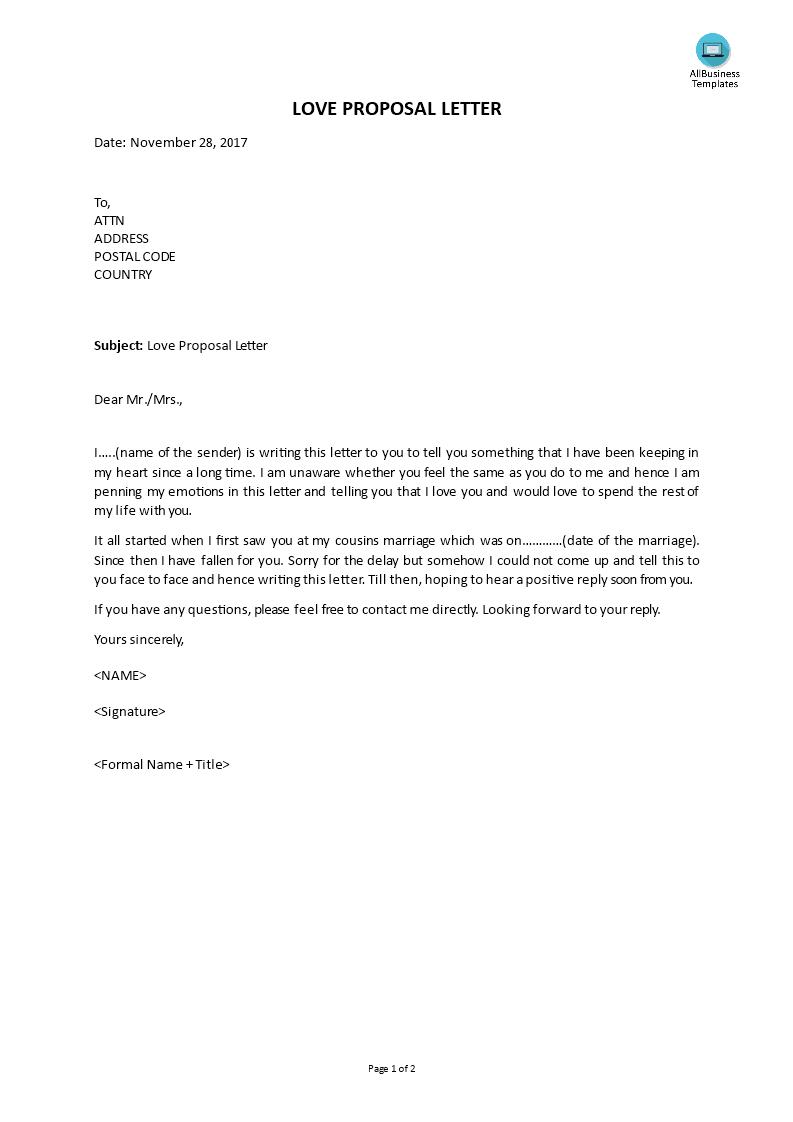 Love Proposal Letter   Templates at allbusinesstemplates com
