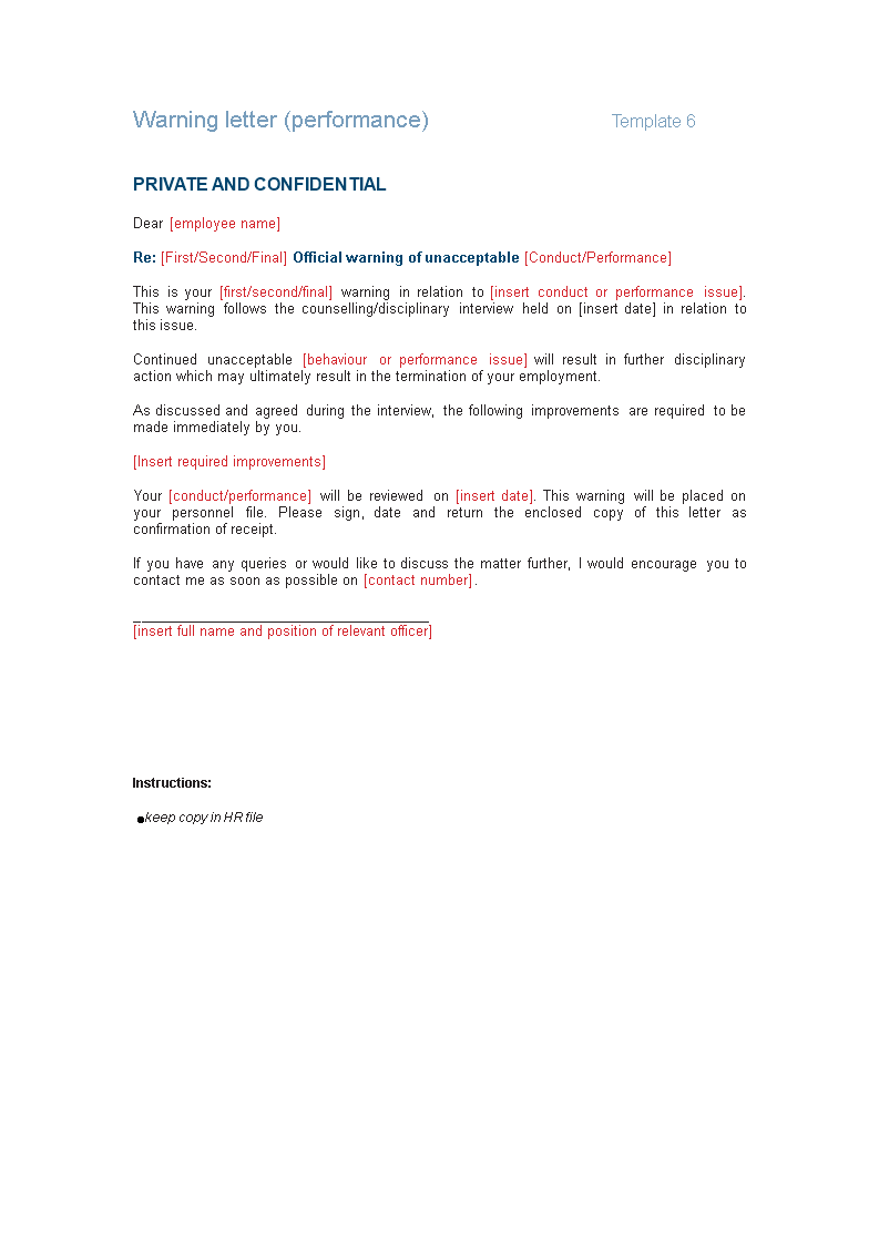 Disciplinary Letter For Poor Performance from www.allbusinesstemplates.com