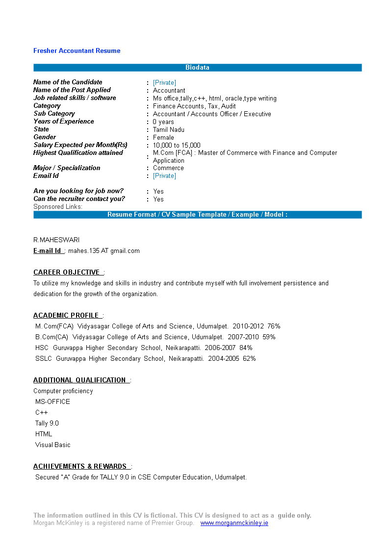 Gratis Accountant Fresher Resume Format