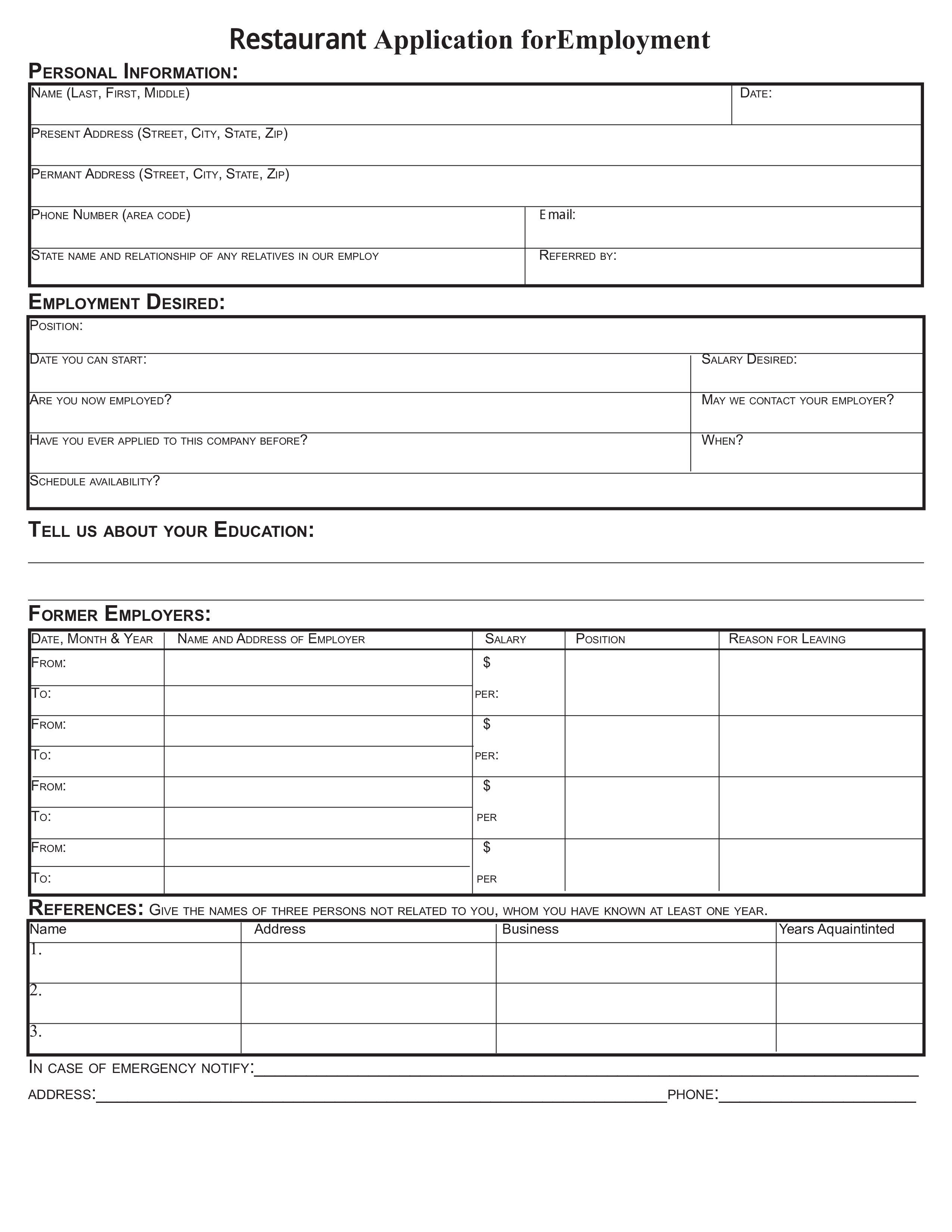Free restaurant application form for employment templates at restaurant application form for employment main image download template maxwellsz