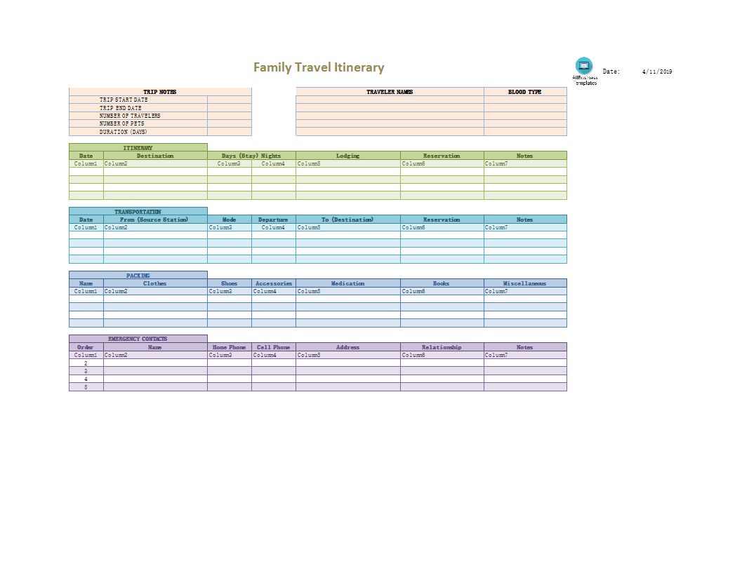 Family Travel Itinerary in Excel main image